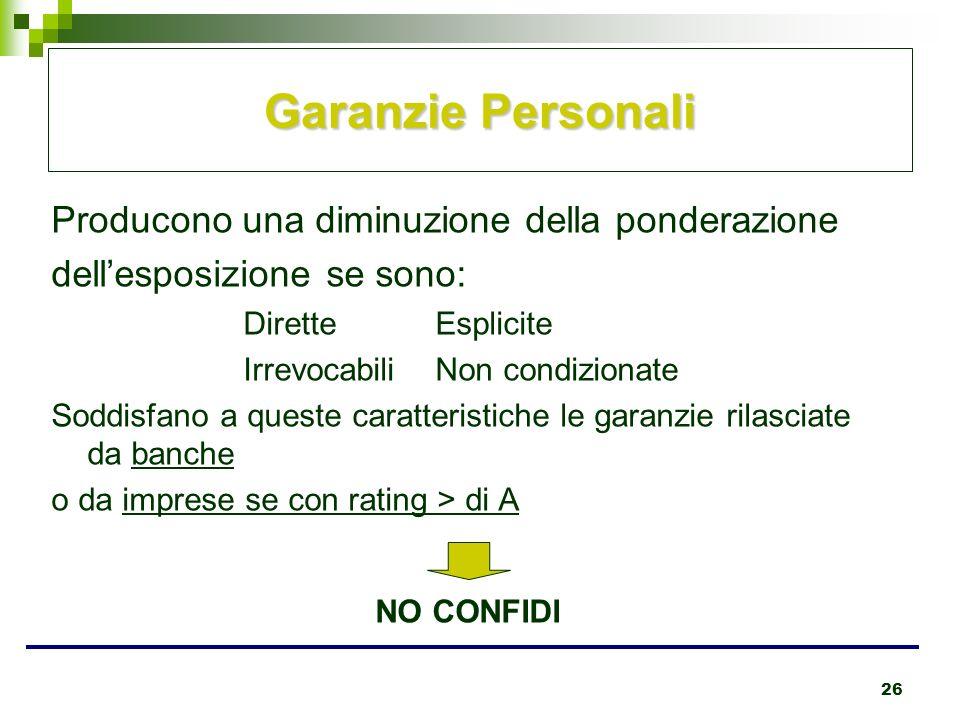 26 Garanzie Personali Producono una diminuzione della ponderazione dellesposizione se sono: DiretteEsplicite IrrevocabiliNon condizionate Soddisfano a