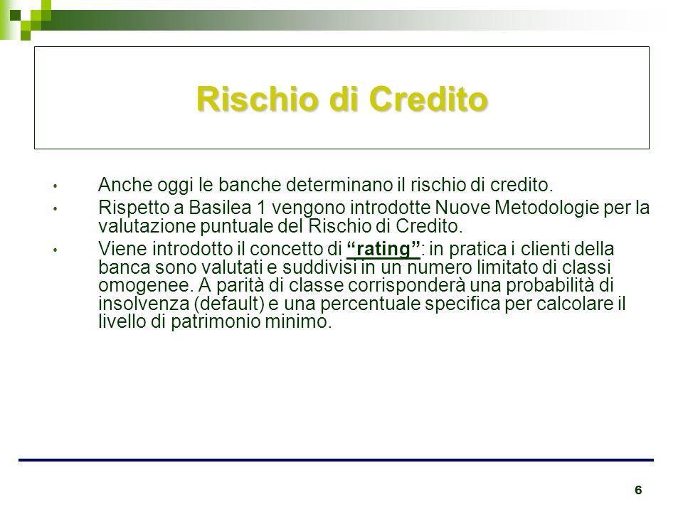 6 Rischio di Credito Anche oggi le banche determinano il rischio di credito. Rispetto a Basilea 1 vengono introdotte Nuove Metodologie per la valutazi