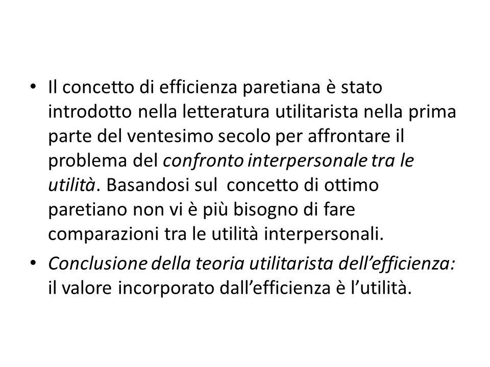 Il concetto di efficienza paretiana è stato introdotto nella letteratura utilitarista nella prima parte del ventesimo secolo per affrontare il problema del confronto interpersonale tra le utilità.