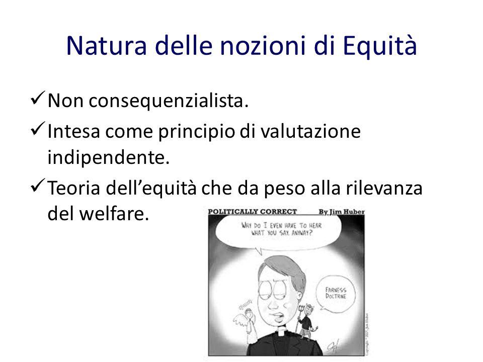 Natura delle nozioni di Equità Non consequenzialista.