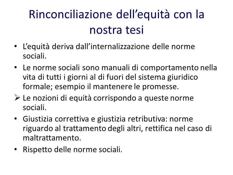 Rinconciliazione dellequità con la nostra tesi Lequità deriva dallinternalizzazione delle norme sociali.