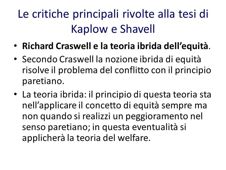 Le critiche principali rivolte alla tesi di Kaplow e Shavell Richard Craswell e la teoria ibrida dellequità.