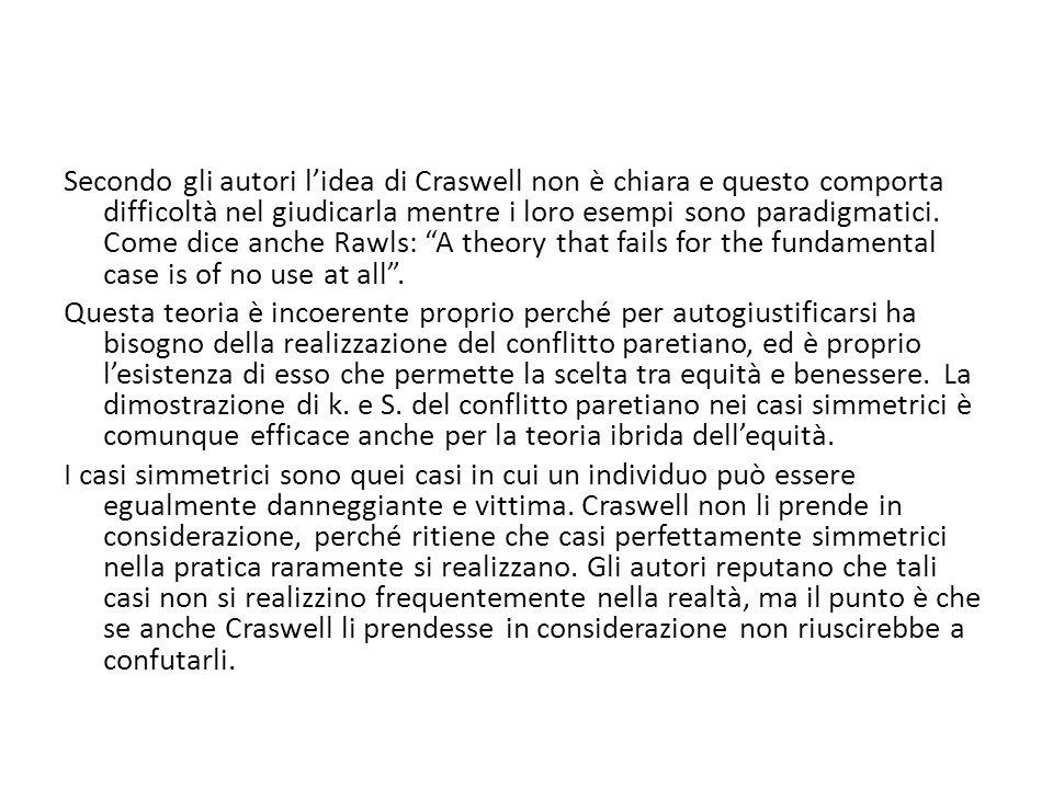Secondo gli autori lidea di Craswell non è chiara e questo comporta difficoltà nel giudicarla mentre i loro esempi sono paradigmatici.