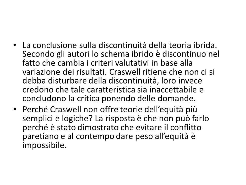 La conclusione sulla discontinuità della teoria ibrida.