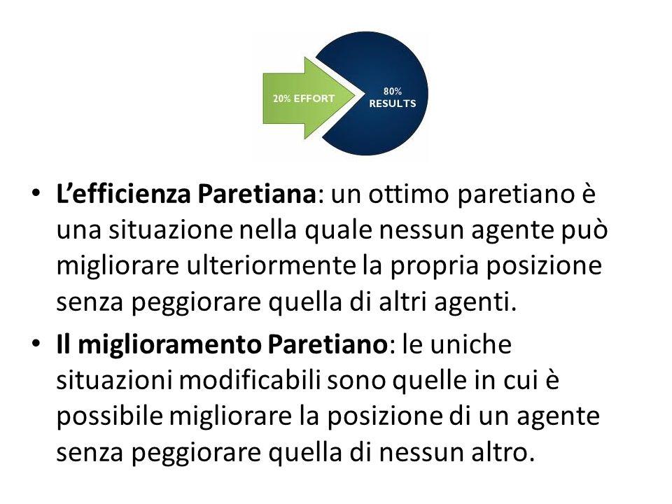 Lefficienza Paretiana: un ottimo paretiano è una situazione nella quale nessun agente può migliorare ulteriormente la propria posizione senza peggiorare quella di altri agenti.