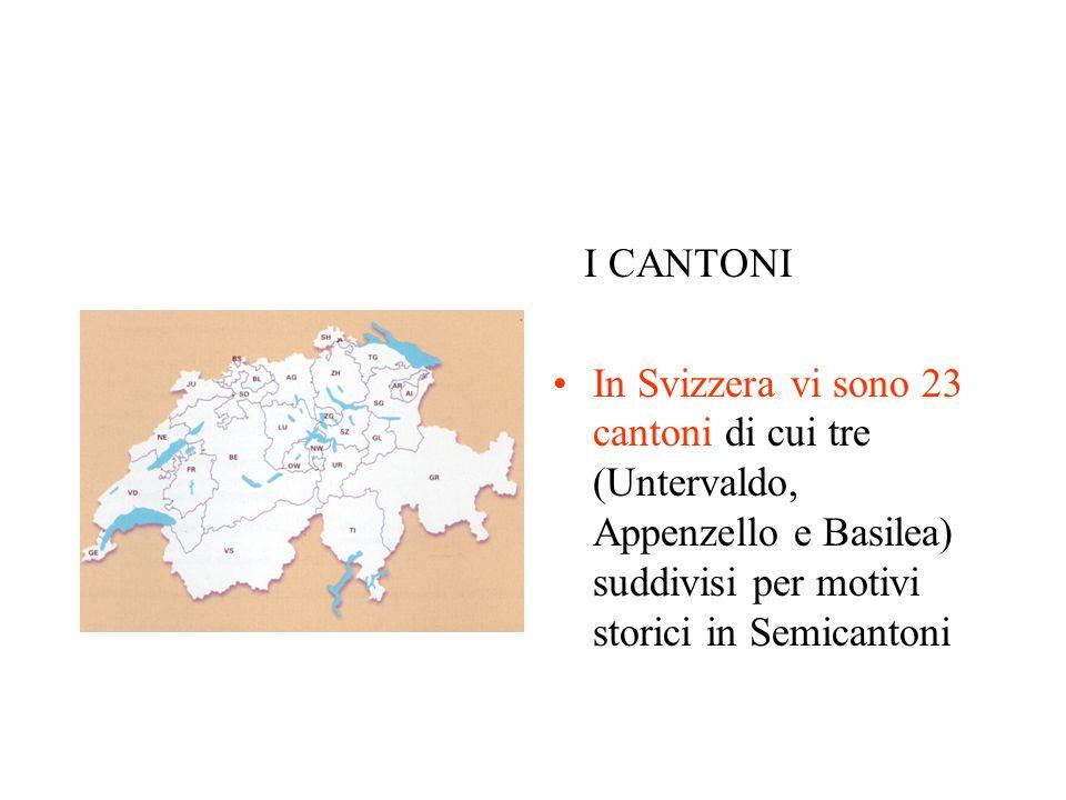 I CANTONI In Svizzera vi sono 23 cantoni di cui tre (Untervaldo, Appenzello e Basilea) suddivisi per motivi storici in Semicantoni