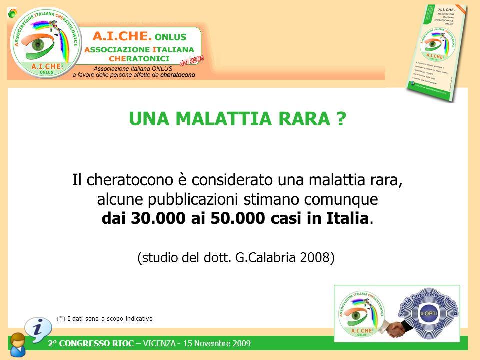 Il cheratocono è considerato una malattia rara, alcune pubblicazioni stimano comunque dai 30.000 ai 50.000 casi in Italia. (studio del dott. G.Calabri