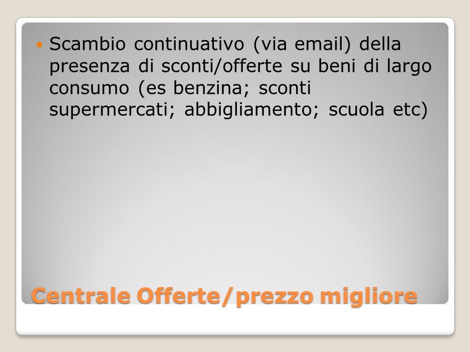 Centrale Offerte/prezzo migliore Scambio continuativo (via email) della presenza di sconti/offerte su beni di largo consumo (es benzina; sconti supermercati; abbigliamento; scuola etc)