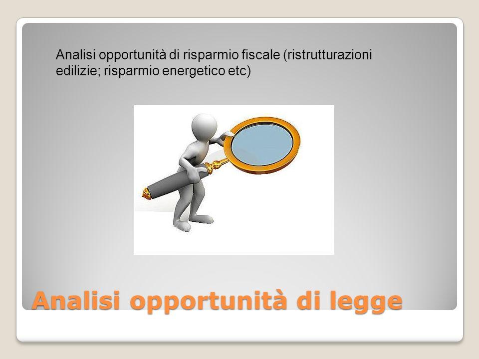 Analisi opportunità di legge Analisi opportunità di risparmio fiscale (ristrutturazioni edilizie; risparmio energetico etc)