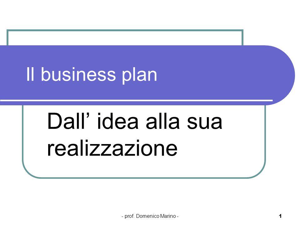 - prof. Domenico Marino - 1 Il business plan Dall idea alla sua realizzazione