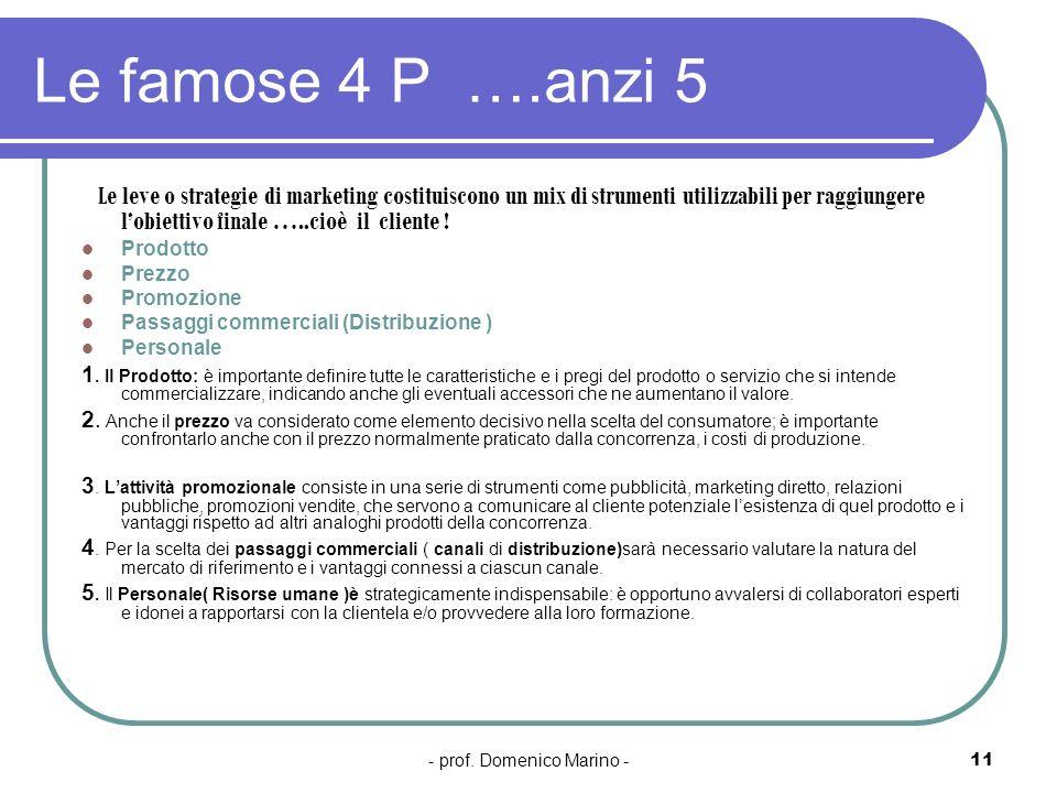 - prof. Domenico Marino -11 Le famose 4 P ….anzi 5 Le leve o strategie di marketing costituiscono un mix di strumenti utilizzabili per raggiungere lob