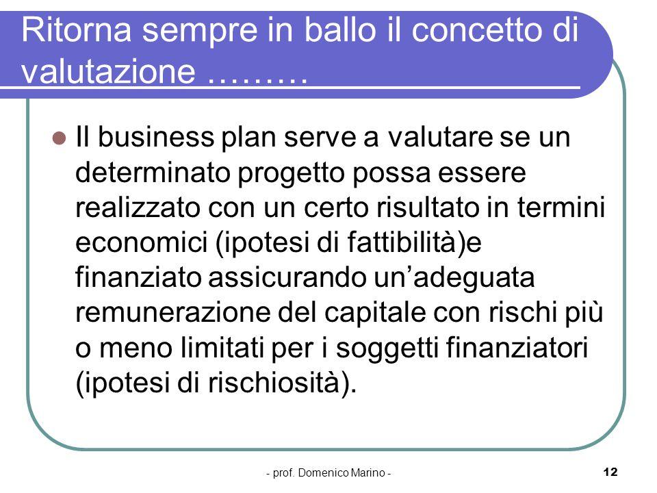 - prof. Domenico Marino -12 Ritorna sempre in ballo il concetto di valutazione ……… Il business plan serve a valutare se un determinato progetto possa