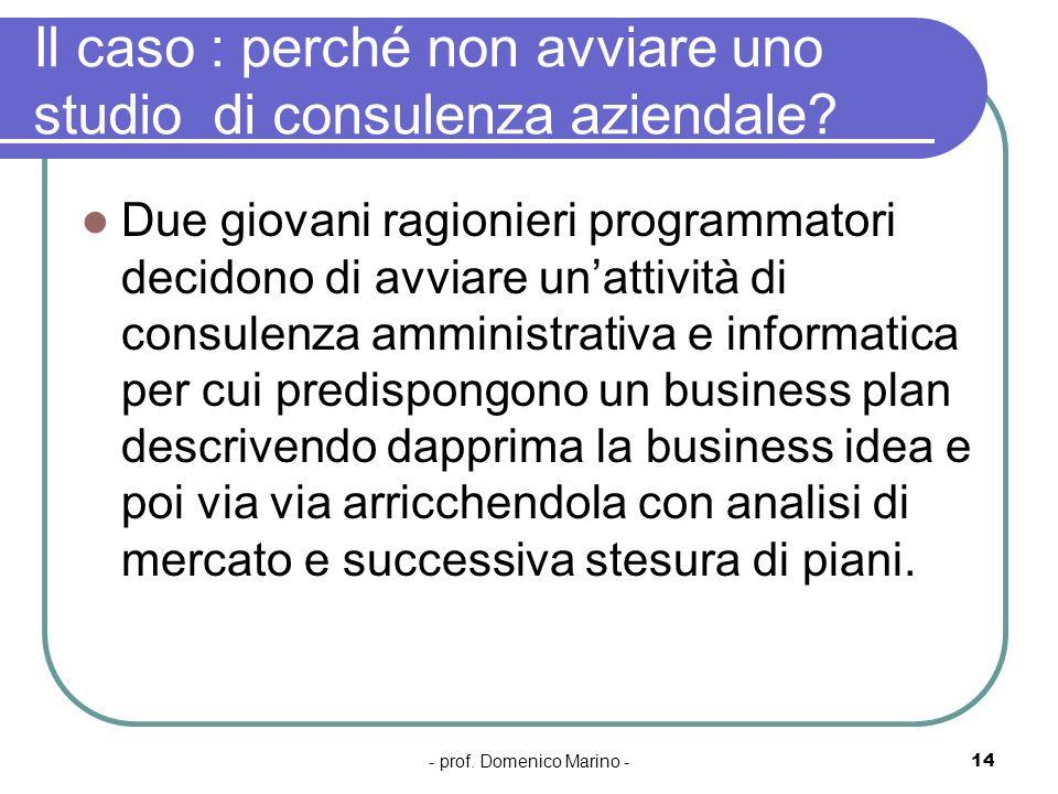 - prof. Domenico Marino -14 Il caso : perché non avviare uno studio di consulenza aziendale? Due giovani ragionieri programmatori decidono di avviare