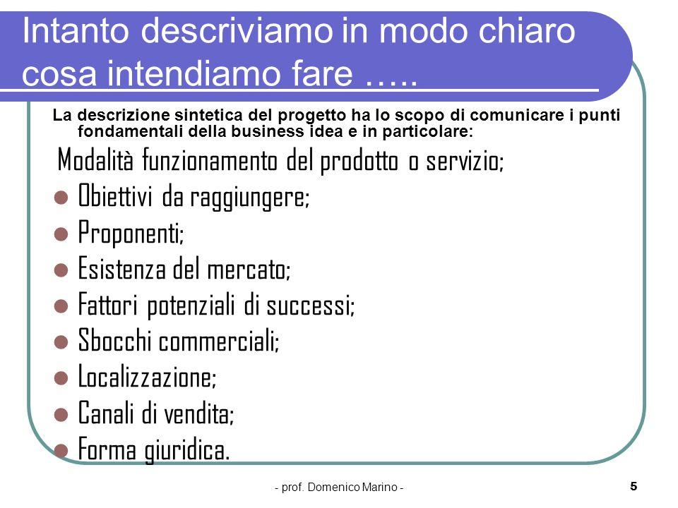 - prof. Domenico Marino -5 Intanto descriviamo in modo chiaro cosa intendiamo fare ….. La descrizione sintetica del progetto ha lo scopo di comunicare