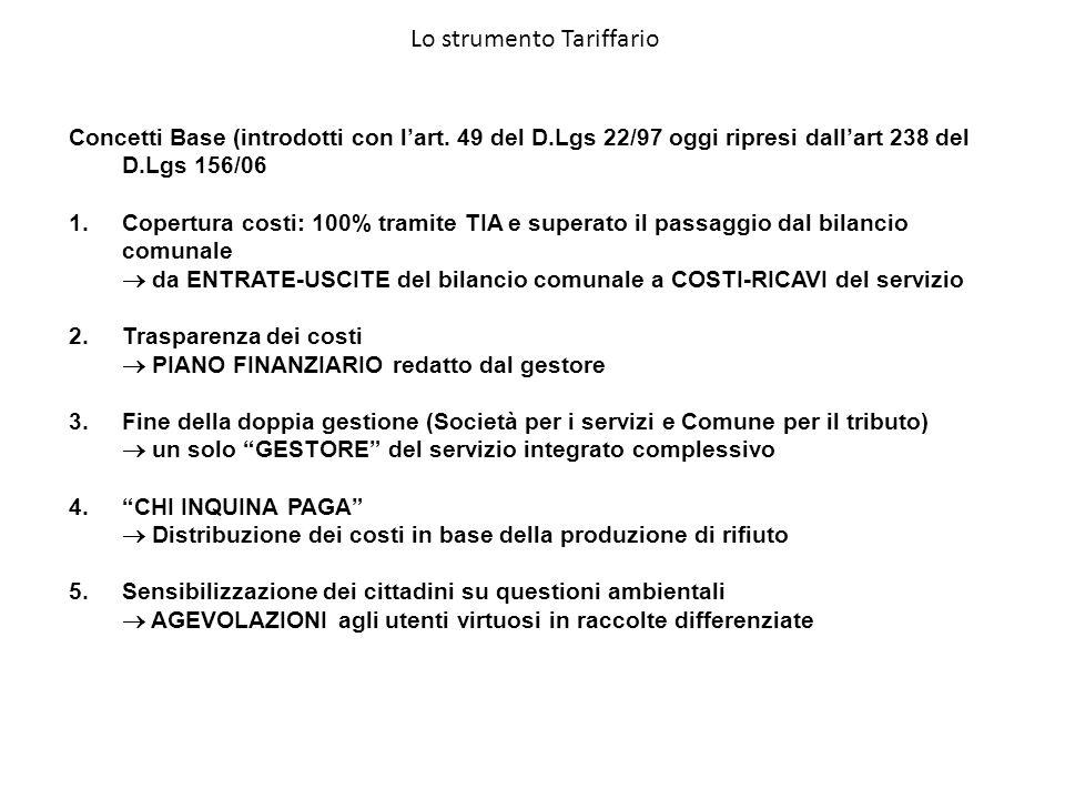 Concetti Base (introdotti con lart. 49 del D.Lgs 22/97 oggi ripresi dallart 238 del D.Lgs 156/06 1.Copertura costi: 100% tramite TIA e superato il pas