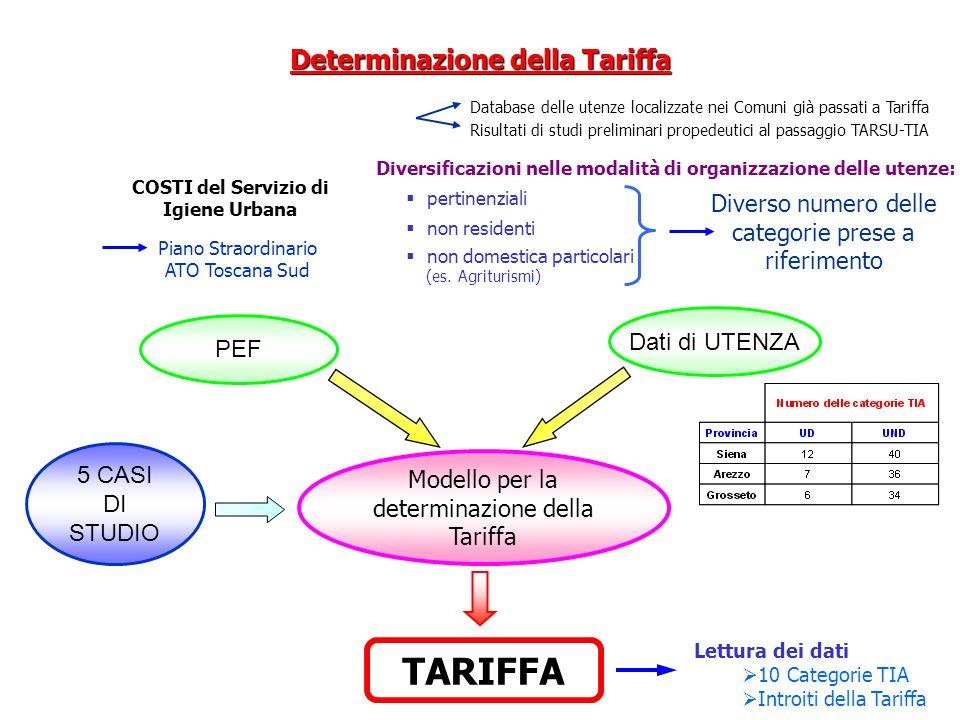 Modello per la determinazione della Tariffa TARIFFA Piano Straordinario ATO Toscana Sud COSTI del Servizio di Igiene Urbana Database delle utenze loca