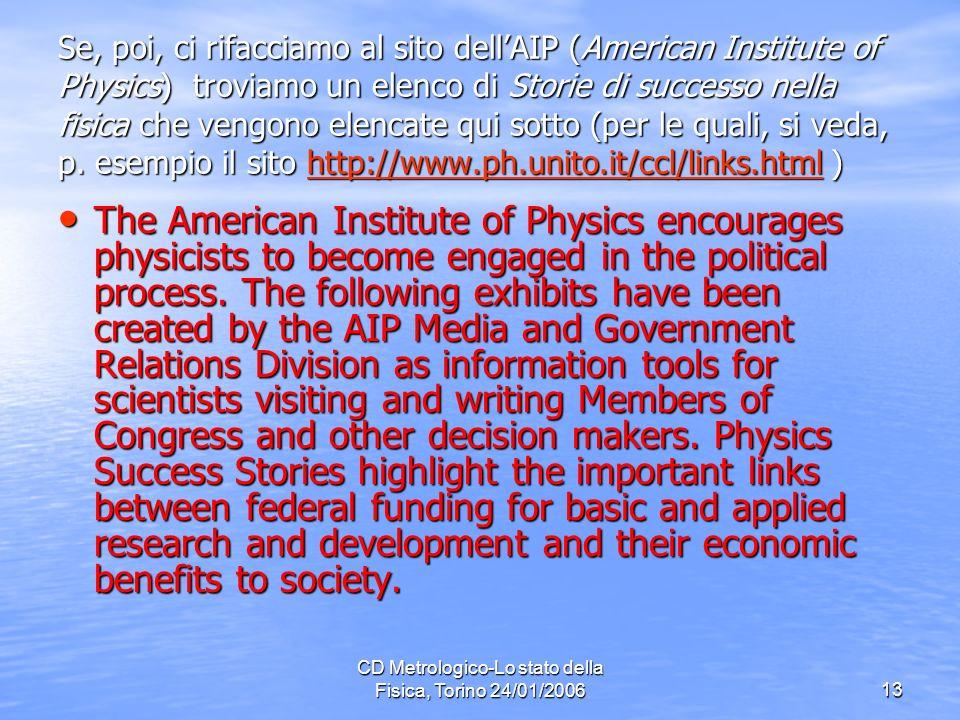 CD Metrologico-Lo stato della Fisica, Torino 24/01/200613 Se, poi, ci rifacciamo al sito dellAIP (American Institute of Physics) troviamo un elenco di Storie di successo nella fisica che vengono elencate qui sotto (per le quali, si veda, p.