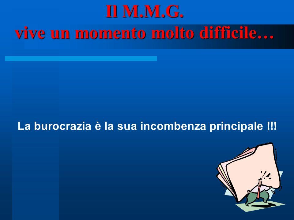 2 Il M.M.G. vive un momento molto difficile… La burocrazia è la sua incombenza principale !!!