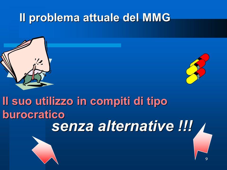 9 Il suo utilizzo in compiti di tipo burocratico Il problema attuale del MMG senza alternative !!!