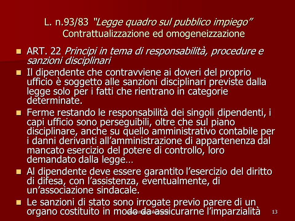 www.nunzioleone.it13 L. n.93/83 Legge quadro sul pubblico impiego Contrattualizzazione ed omogeneizzazione ART. 22 Principi in tema di responsabilità,