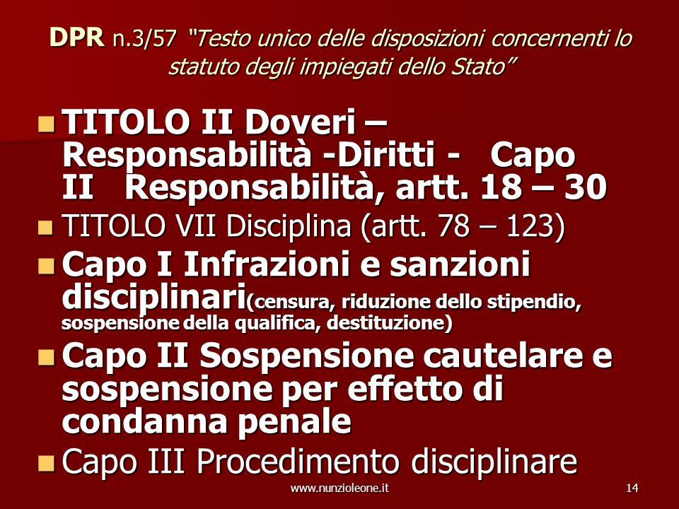 www.nunzioleone.it14 DPR n.3/57 Testo unico delle disposizioni concernenti lo statuto degli impiegati dello Stato TITOLO II Doveri – Responsabilità -D