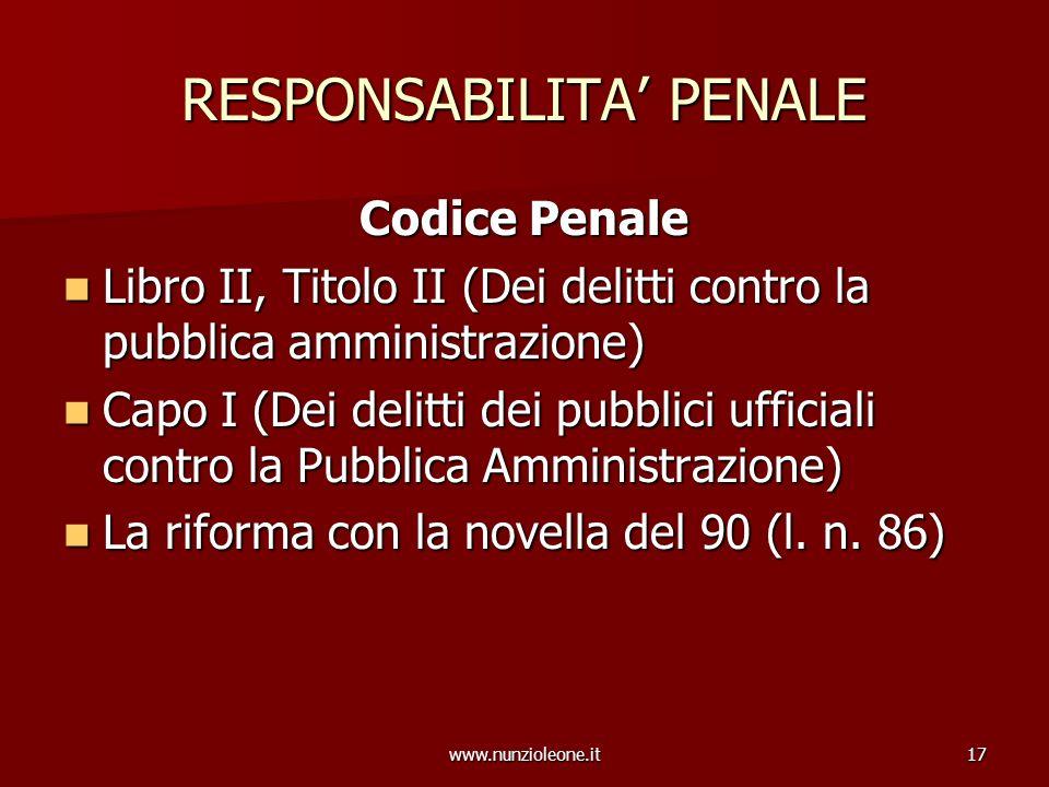 www.nunzioleone.it17 RESPONSABILITA PENALE Codice Penale Libro II, Titolo II (Dei delitti contro la pubblica amministrazione) Libro II, Titolo II (Dei