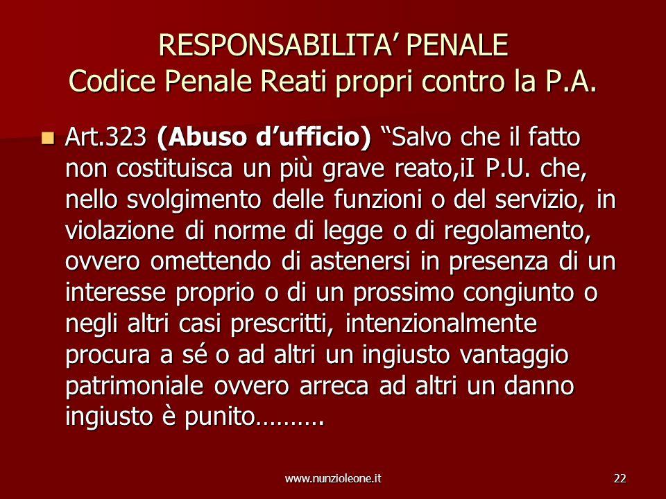 www.nunzioleone.it22 RESPONSABILITA PENALE Codice Penale Reati propri contro la P.A. Art.323 (Abuso dufficio) Salvo che il fatto non costituisca un pi