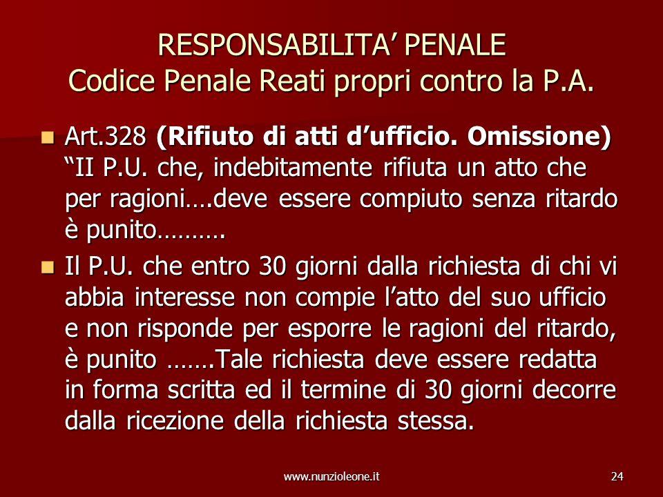 www.nunzioleone.it24 RESPONSABILITA PENALE Codice Penale Reati propri contro la P.A. Art.328 (Rifiuto di atti dufficio. Omissione) II P.U. che, indebi