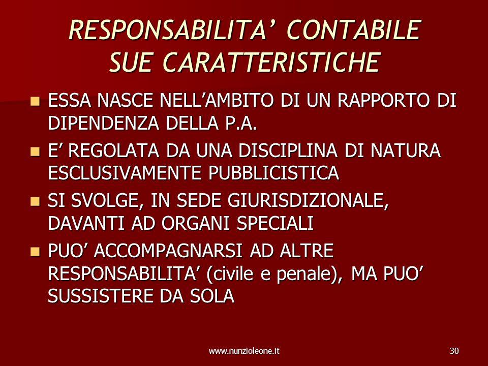 www.nunzioleone.it30 RESPONSABILITA CONTABILE SUE CARATTERISTICHE ESSA NASCE NELLAMBITO DI UN RAPPORTO DI DIPENDENZA DELLA P.A. ESSA NASCE NELLAMBITO