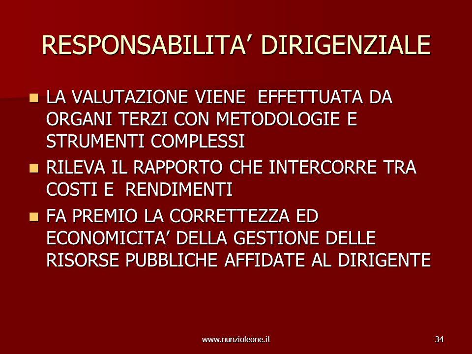 www.nunzioleone.it34 RESPONSABILITA DIRIGENZIALE LA VALUTAZIONE VIENE EFFETTUATA DA ORGANI TERZI CON METODOLOGIE E STRUMENTI COMPLESSI LA VALUTAZIONE