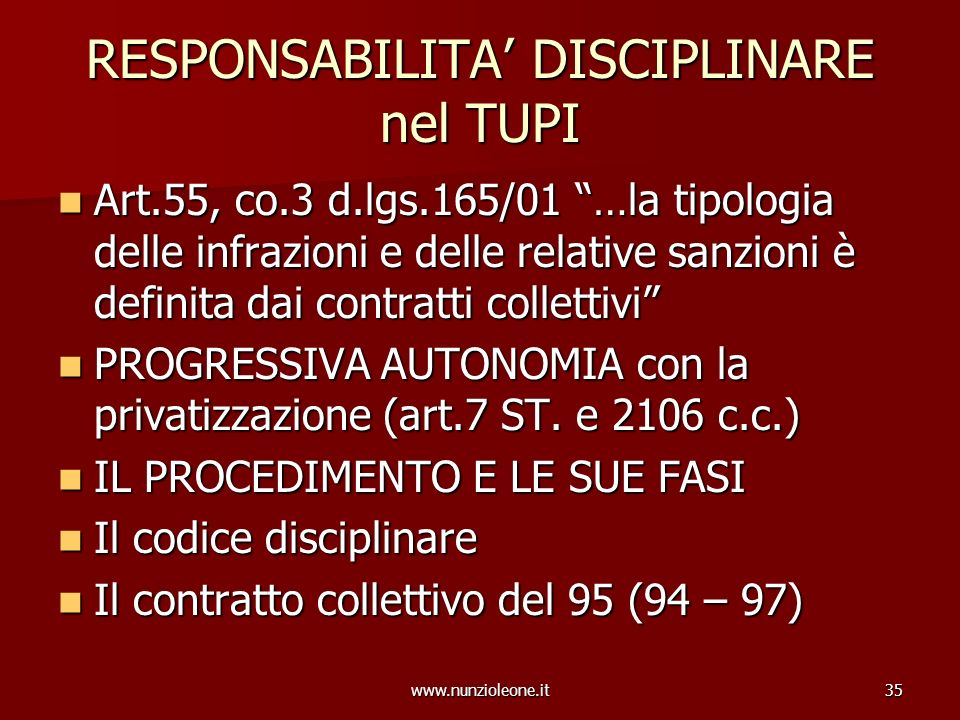 www.nunzioleone.it35 RESPONSABILITA DISCIPLINARE nel TUPI Art.55, co.3 d.lgs.165/01 …la tipologia delle infrazioni e delle relative sanzioni è definit