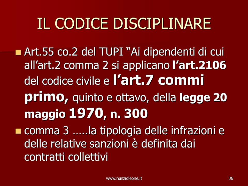 www.nunzioleone.it36 IL CODICE DISCIPLINARE Art.55 co.2 del TUPI Ai dipendenti di cui allart.2 comma 2 si applicano lart.2106 del codice civile e lart