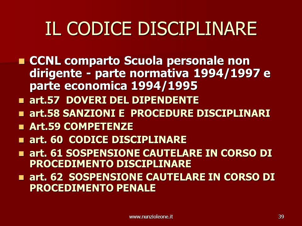 www.nunzioleone.it39 IL CODICE DISCIPLINARE CCNL comparto Scuola personale non dirigente - parte normativa 1994/1997 e parte economica 1994/1995 CCNL