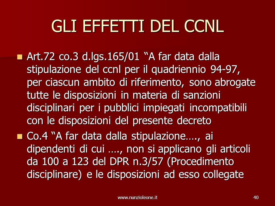 www.nunzioleone.it40 GLI EFFETTI DEL CCNL Art.72 co.3 d.lgs.165/01 A far data dalla stipulazione del ccnl per il quadriennio 94-97, per ciascun ambito