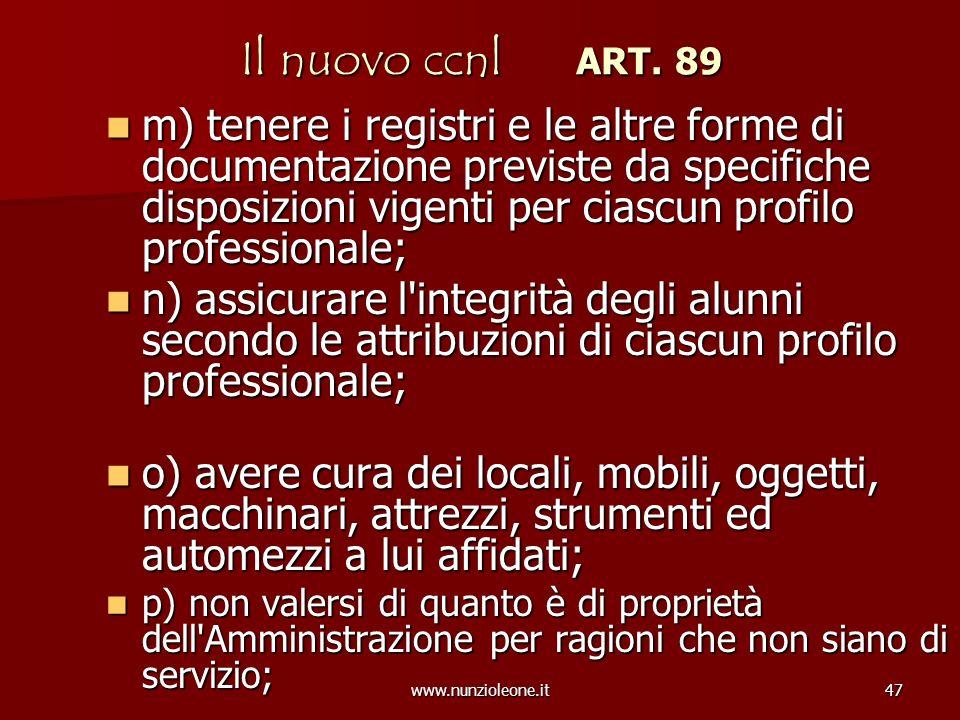 www.nunzioleone.it47 Il nuovo ccnl ART. 89 m) tenere i registri e le altre forme di documentazione previste da specifiche disposizioni vigenti per cia