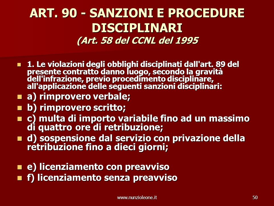 www.nunzioleone.it50 ART. 90 - SANZIONI E PROCEDURE DISCIPLINARI (Art.
