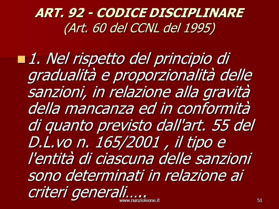 www.nunzioleone.it51 ART. 92 - CODICE DISCIPLINARE (Art. 60 del CCNL del 1995) 1. Nel rispetto del principio di gradualità e proporzionalità delle san