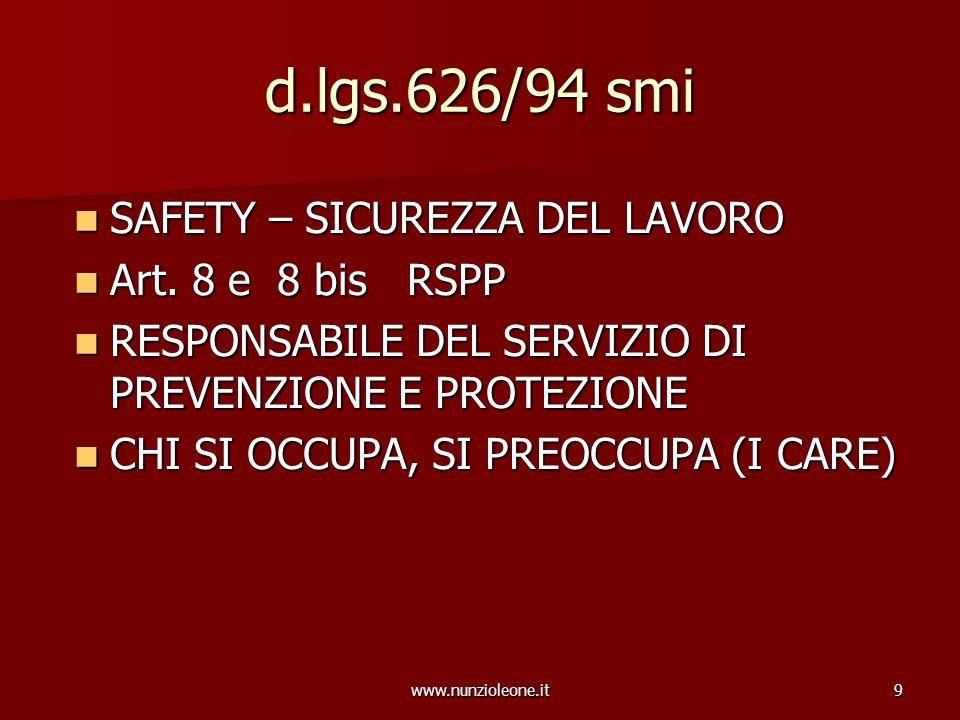www.nunzioleone.it9 d.lgs.626/94 smi SAFETY – SICUREZZA DEL LAVORO SAFETY – SICUREZZA DEL LAVORO Art. 8 e 8 bis RSPP Art. 8 e 8 bis RSPP RESPONSABILE