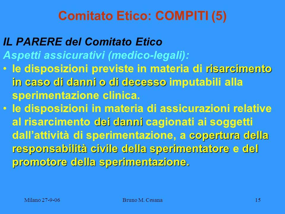 Milano 27-9-06Bruno M. Cesana15 Comitato Etico: COMPITI (5) IL PARERE del Comitato Etico Aspetti assicurativi (medico-legali): risarcimento in caso di