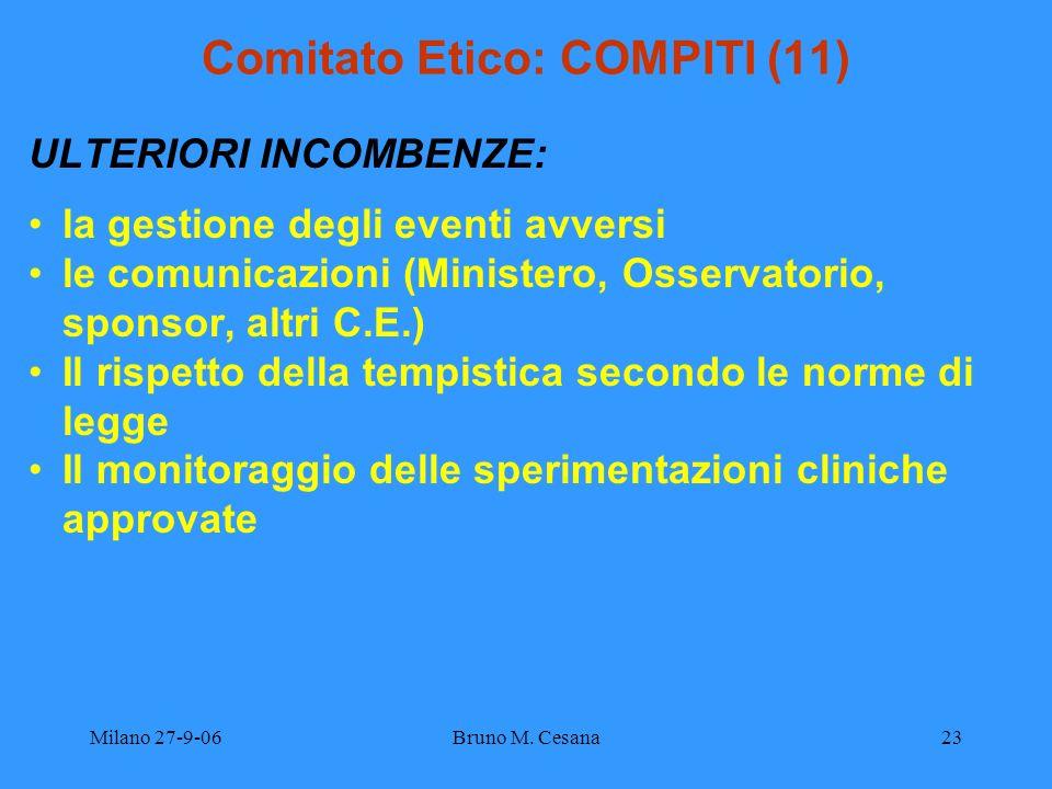 Milano 27-9-06Bruno M. Cesana23 Comitato Etico: COMPITI (11) ULTERIORI INCOMBENZE: la gestione degli eventi avversi le comunicazioni (Ministero, Osser