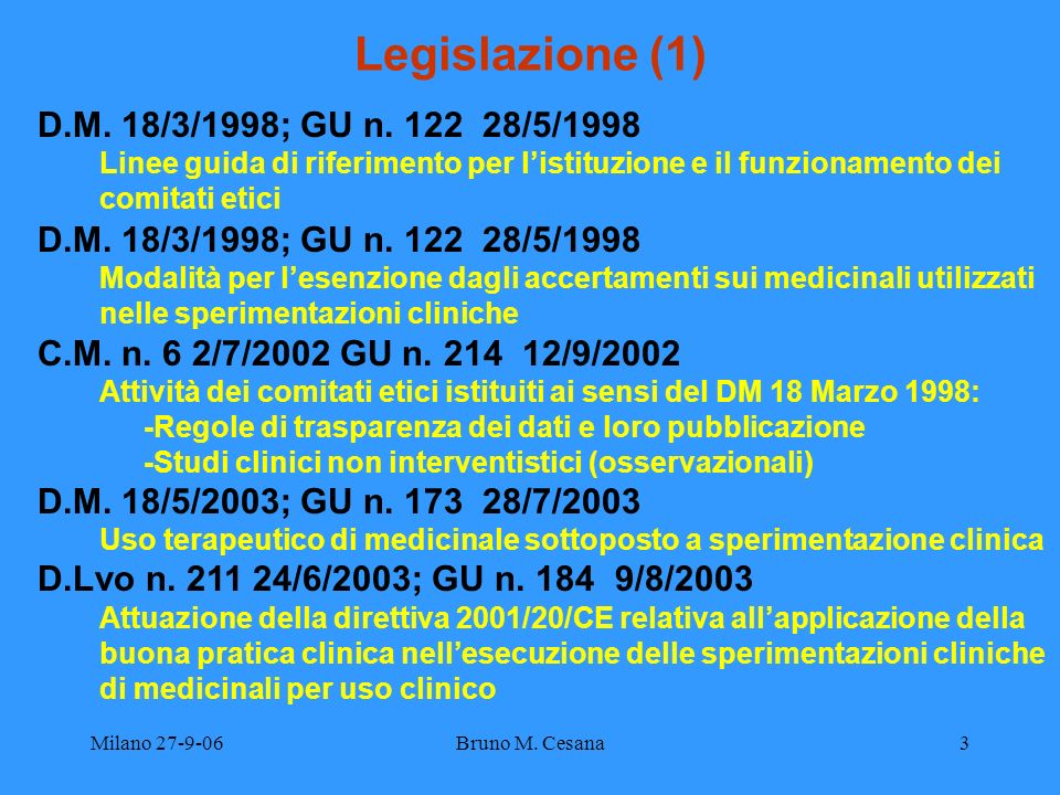 Milano 27-9-06Bruno M. Cesana3 Legislazione (1) D.M. 18/3/1998; GU n. 122 28/5/1998 Linee guida di riferimento per listituzione e il funzionamento dei