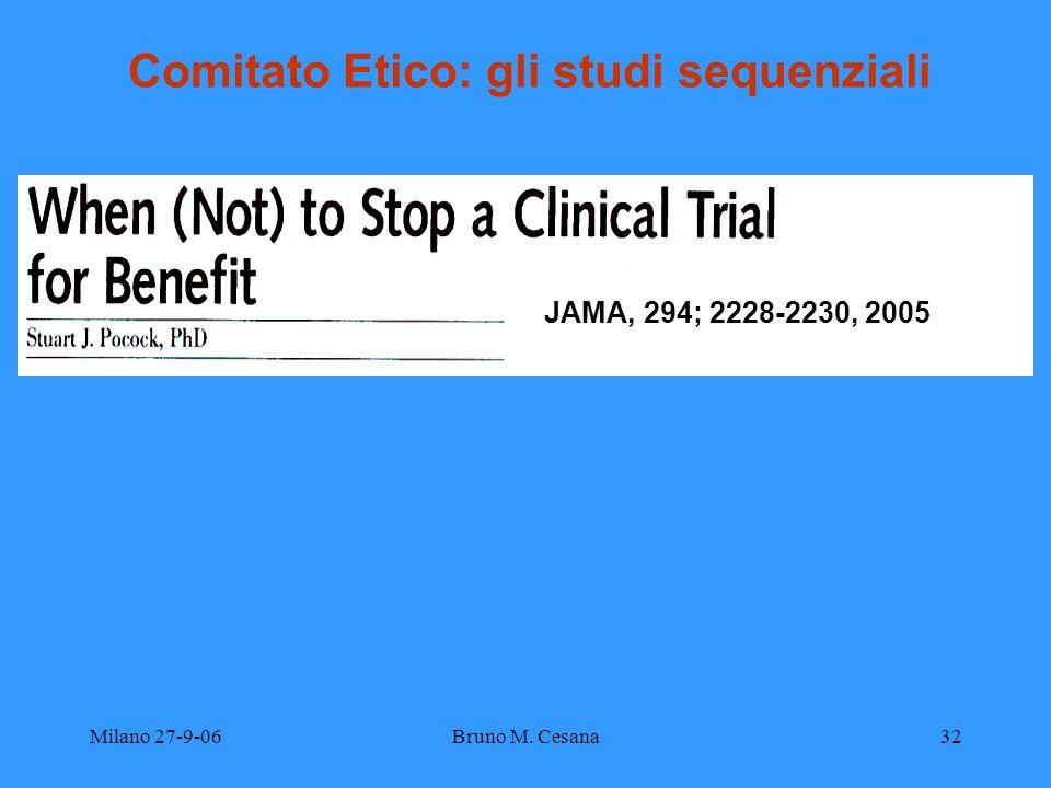 Milano 27-9-06Bruno M. Cesana32 Comitato Etico: gli studi sequenziali JAMA, 294; 2228-2230, 2005