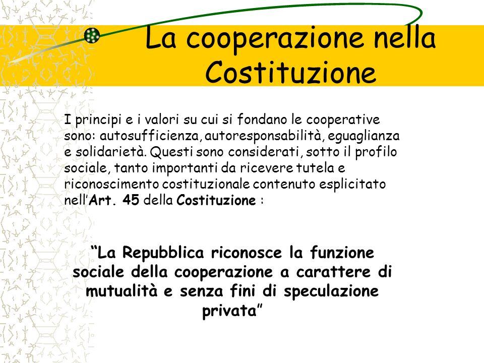 La cooperazione nella Costituzione I principi e i valori su cui si fondano le cooperative sono: autosufficienza, autoresponsabilità, eguaglianza e sol