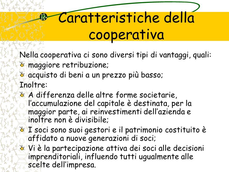 Caratteristiche della cooperativa Nella cooperativa ci sono diversi tipi di vantaggi, quali: maggiore retribuzione; acquisto di beni a un prezzo più b