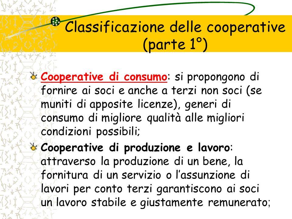 Classificazione delle cooperative (parte 1°) Cooperative di consumoCooperative di consumo: si propongono di fornire ai soci e anche a terzi non soci (