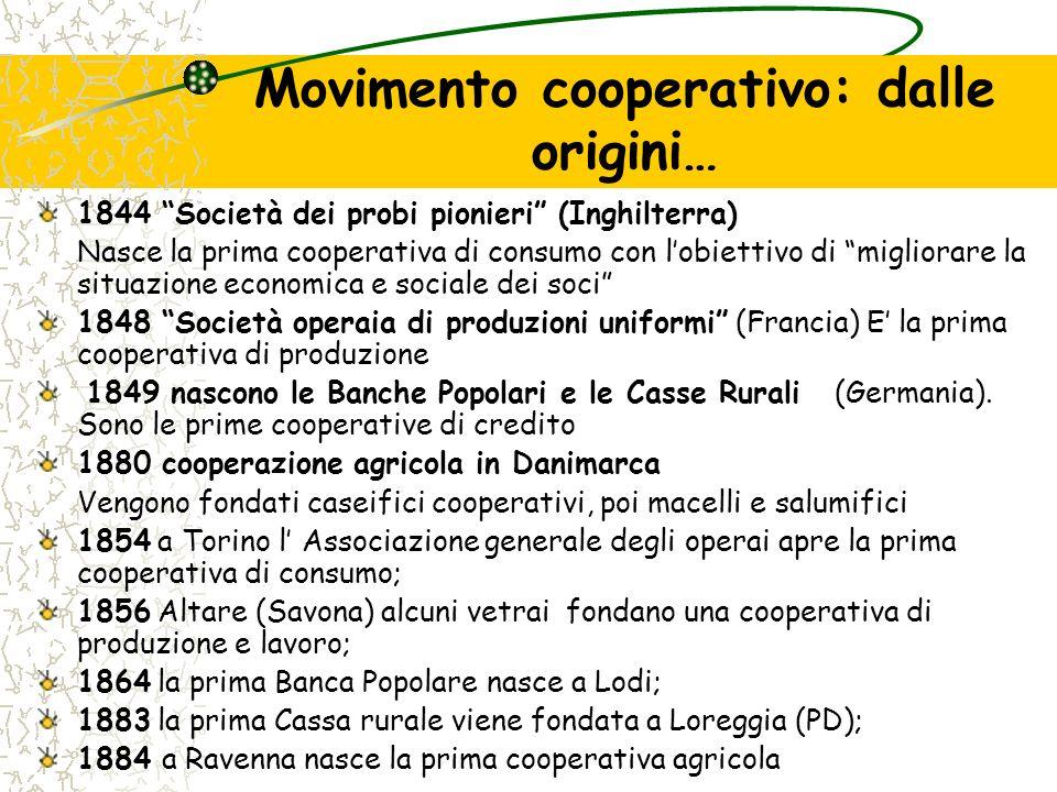 Movimento cooperativo: dalle origini… 1844 Società dei probi pionieri (Inghilterra) Nasce la prima cooperativa di consumo con lobiettivo di migliorare