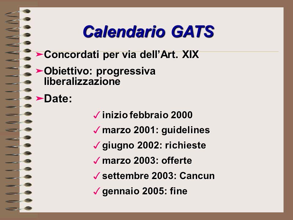 Calendario GATS äConcordati per via dellArt.
