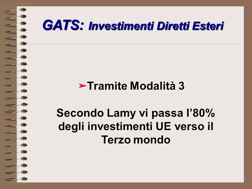 GATS: Investimenti Diretti Esteri äTramite Modalità 3 Secondo Lamy vi passa l80% degli investimenti UE verso il Terzo mondo