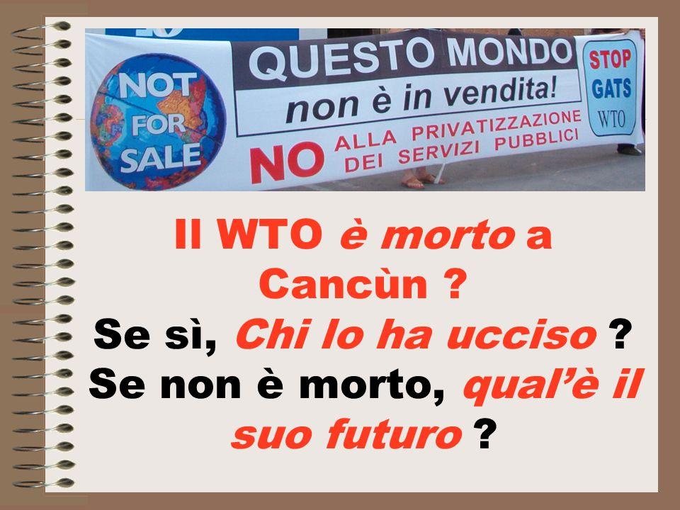 Il WTO è morto a Cancùn Se sì, Chi lo ha ucciso Se non è morto, qualè il suo futuro