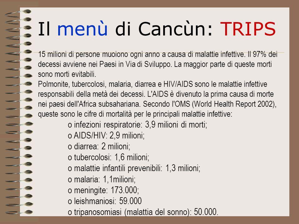 Il menù di Cancùn: TRIPS 15 milioni di persone muoiono ogni anno a causa di malattie infettive.
